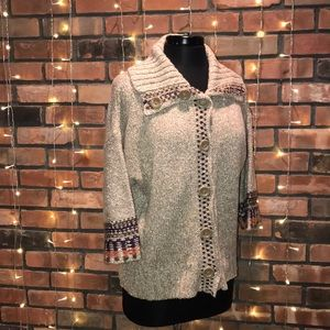 Dress Barn Knitted Sweater Button Up Warm